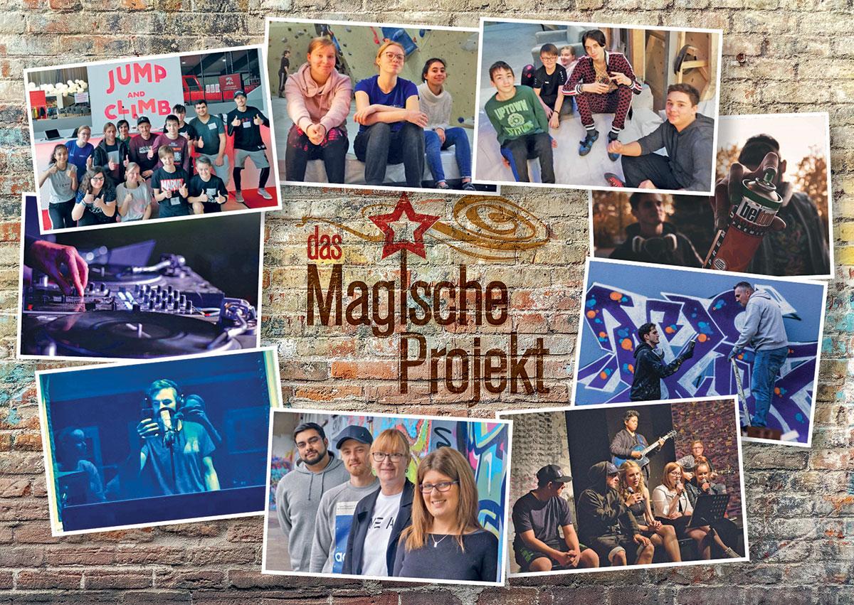 Das magische Projhekt - Postkarte: Ein Bild mit Bildern.